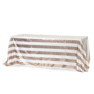 Rectangular Stripe Glitz Sequin Tablecloth