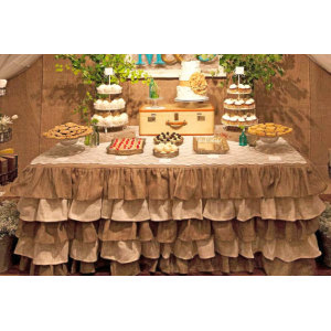 Three Tier Ruffled Burlap Table Skirt