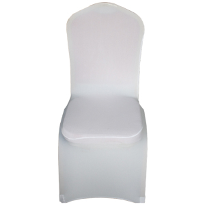 Customized back boss 1-banquet white spandex chair cover with bowknot printing