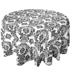 Taffeta Round Damask Flocking Tablecloth