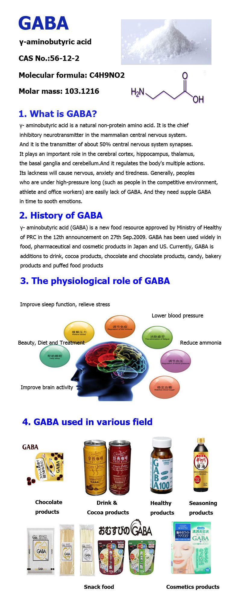 GABA γ- aminobutyric acid gamma-Aminobutyric acid GABA for sleep GABA function GABA supplier Biological synthesis GABA