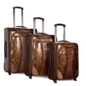 Vintage PU Snake Leather Trolley Luggage