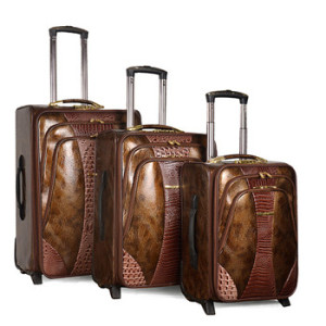 Vintage PU Snake Leather Trolley Luggage