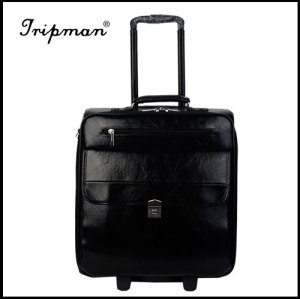 pu material soft trolley luggage, High quality trolley case