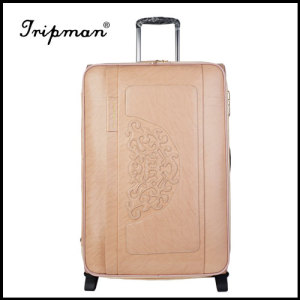 New Design Carving Flowers Pu Trolley Luggage