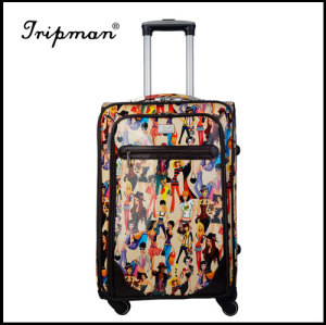 Stylish New design leopard Pattern PU travel luggage suitcase