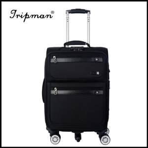 New Design 4 airplane wheels Cool black large capacity Soft PU Luggage