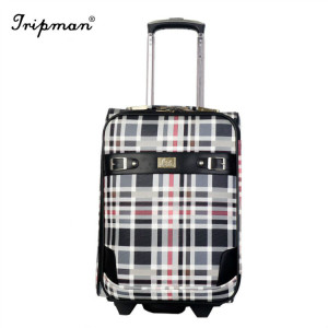 New Model Brand PU Leather Wheel Luggage Travel Trolley Case