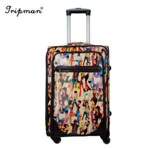 High Quality New Design Cheap Printed Pattern PU Leather Luggage