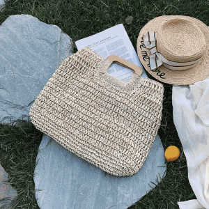 Manufacturer white hollow tote handbag women's straw beach bag with bamboo handles