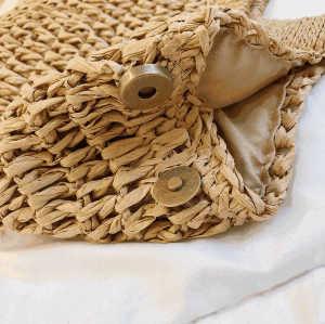 Manufacturer white hollow tote handbag women's straw beach bag with bamboo handles