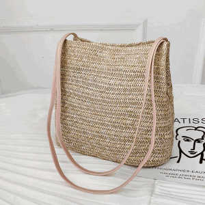 OEM logo portugal lady shoulder bag pink braided grass straw tote bag for girls