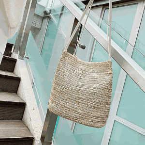 OEM logo portugal lady shoulder bag pink braided grass straw tote bag for girls