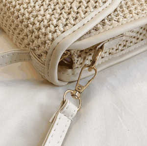 Wholesale italy fashion shoulder women bag reusable decorative hawaii straw bag with leather