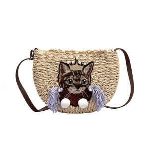 Fancy cute cat pattern children small fringed shoulder bag handmade tassel kid straw beach bag