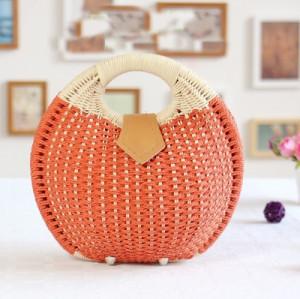 Hot sell round holiday beach casual tote handbag handmade big shell straw bag for women