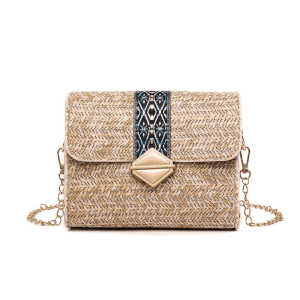 Fashion khaki lady embroidered small shoulder bag woven embroidery straw bag with chain