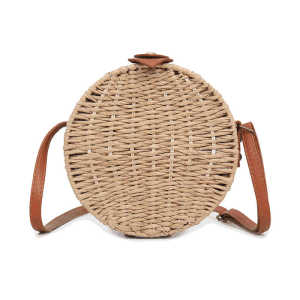 Custom small brown shoulder straw bag french rattan mini straw basket beach bag