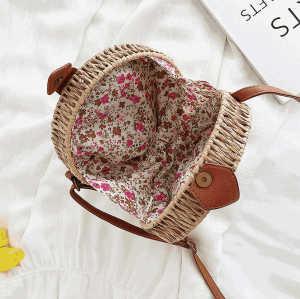 Custom small brown shoulder straw bag french rattan mini straw basket beach bag