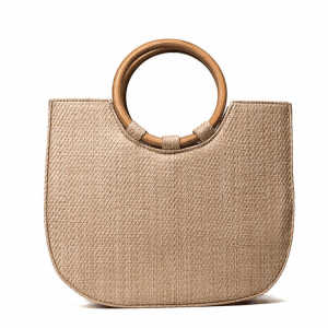 Customized Half Moon Straw Tote Bag Handmade Lady Round Handle Beach Bags Women Handbags