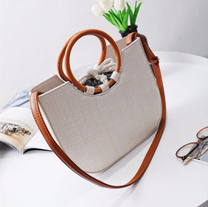 Customized Half Moon Straw Tote Bag Handmade Lady Round Handle Beach Bags Women Handbags