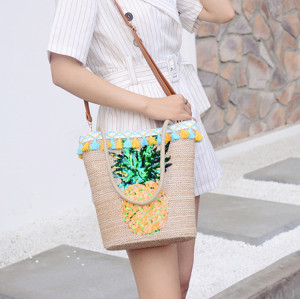 Summer Beach Bag Women Straw Woven Pineapple Printed Tote Bags Designer Handbags