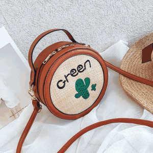 2018 New Women Round Straw Female Customized Summer Beach Rattan Bags Handbag