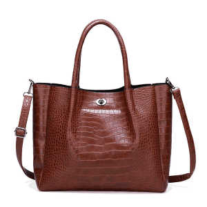 Brown crocodile skin pattern ladies crossbody purse messenger single shoulder bag handbag for women