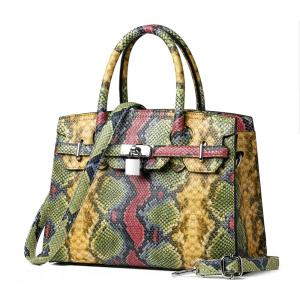 Paris elegance pu leather women snake skin pattern print messenger shoulder bag ladies handbag