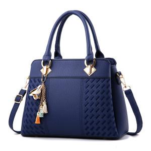 New design fashion pu leather women messenger shoulder bag ladies handbag with flower pendant