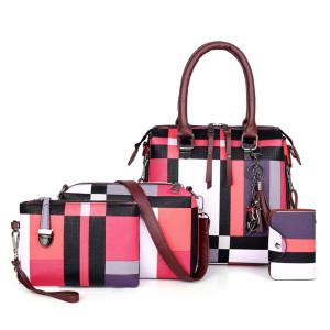4 Pcs/Set fashion colorful grid stripe pu leather purse clutch messenger shoulder bag handbag set