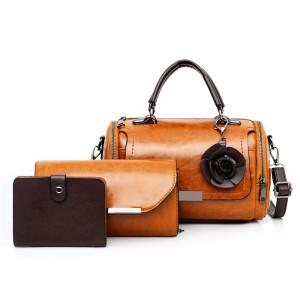 4 Pcs/Set pu leather purse clutch messenger shoulder bag large handbag set big size for ladies