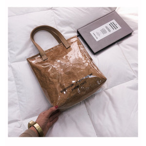 Luxury casual tote reusable transparent tyvek shopping bag women shoulder bag ladies handbags