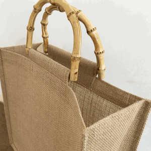 Customized logo and pattern fashion women shoulder bag lady jute handbag with bamboo handle