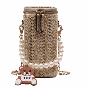 Creative classy crochet chain straw bag bamboo shoulder bag with pearl bear handle and zipper