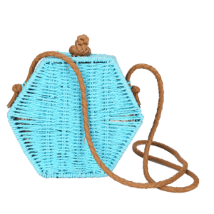 Colorful hexagon box straw cross body shoulder bag women summer beach fashion bag for lady