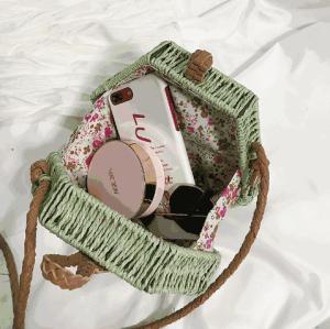 Colorful hexagon box straw cross body shoulder bag women summer beach fashion bag for lady