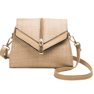 Trendy messenger shoulder bag straw strap bag for women with leather handle and Zipper