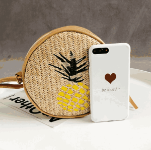 Wholesale seaweed pineapple women round wicker handbag straw beach bag with leather handle