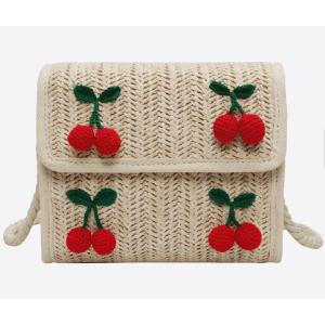 Handmade woven shoulder bag women square cherry wicker handbag straw beach bag with pom pom