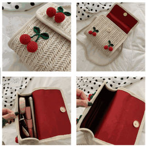 Handmade woven shoulder bag women square cherry wicker handbag straw beach bag with pom pom