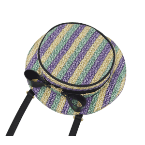 NEW design hat shape women pu leather shoulder bag messenger bag stripe straw bag