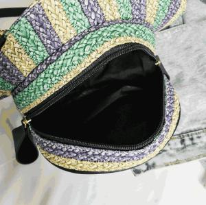 NEW design hat shape women pu leather shoulder bag messenger bag stripe straw bag