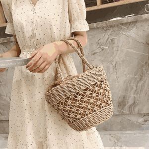 Philippines vietnam drawstring bucket bag string cotton cloth straw bag for lady women