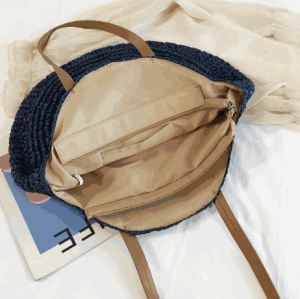 China luxury colorful tote bag handwoven round beach shoulder bag straw bag with leather handle