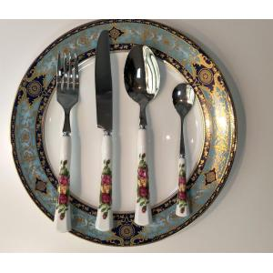 Stainless steel cutlery spoon ceramic dinnerware