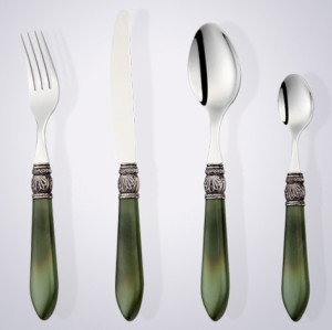 Acrylic handle unique stainless steel mirror polish cutlery