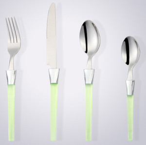 disposable plastic handle half tong stainless steel cutlery, dinnerware