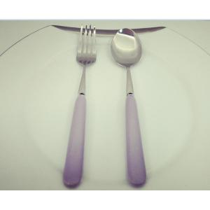 Purple ceramic handle fruit knife and fork
