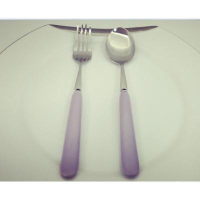 Purple ceramic handle fruit knife and fork